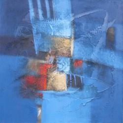 Tableau contemporain abstrait carré bleu- 70x70 cm-Suwitra