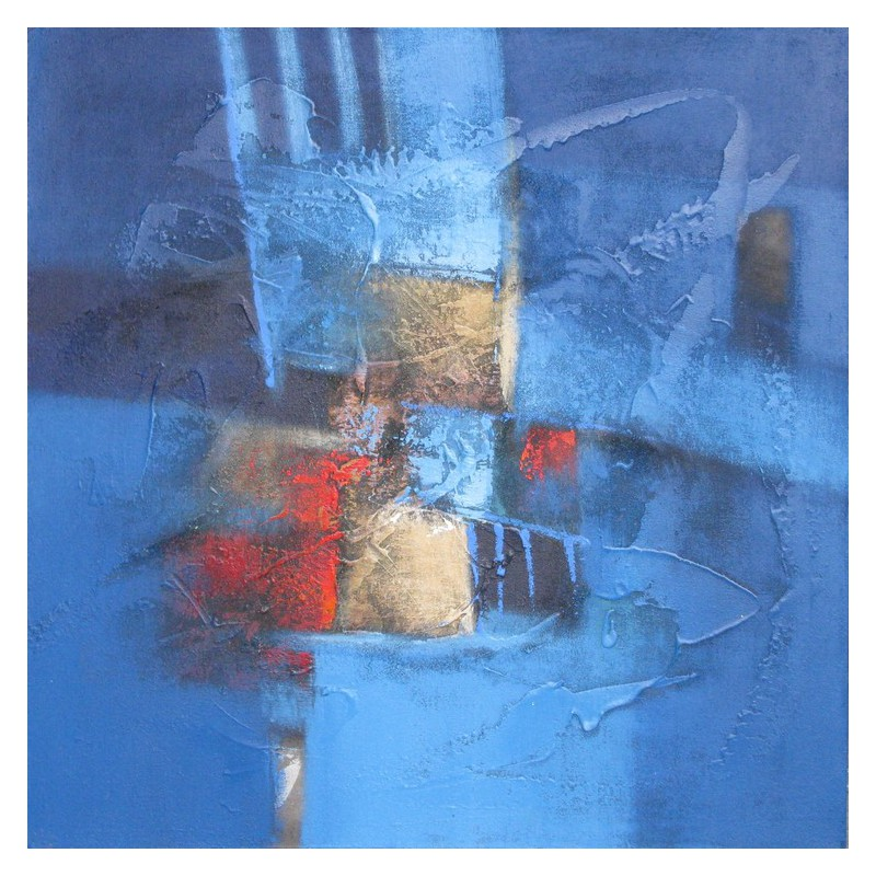 Tableau contemporain abstrait carr bleu 70x70 cm suwitra for Tableau grand format abstrait