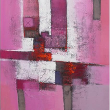 Tableau contemporain abstrait ton rose- 100x100 cm- Suwitra