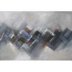 Tableau abstrait ton gris-bleu-granit- 125x85 cm