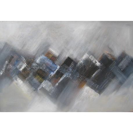 Tableau abstrait gris bleu granit grande taille - 125x85 cm