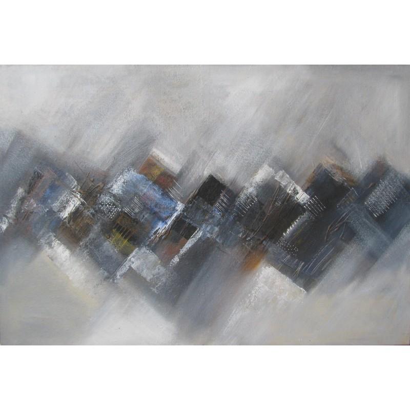 Tableau abstrait ton gris bleu granit 125x85 cm for Tableau bleu et gris
