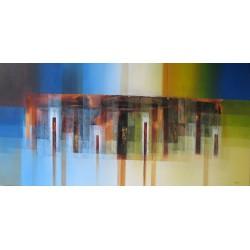 Tableau déco bleu-jaune panoramique 180x90 cm
