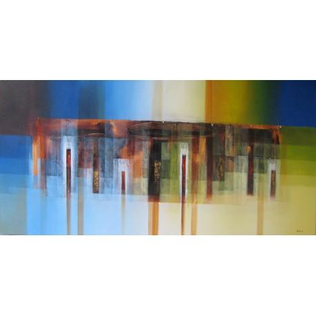 Tableau déco bleu-jaune panoramique 180x90- Alit