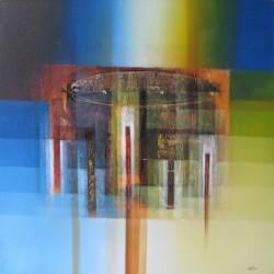 Tableau abstrait ton bleu-jaune carré 100x100 cm