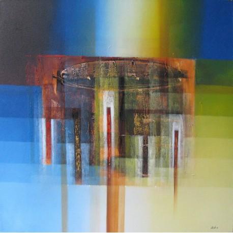 Tableau abstrait ton bleu-jaune carré 100x100- Alit