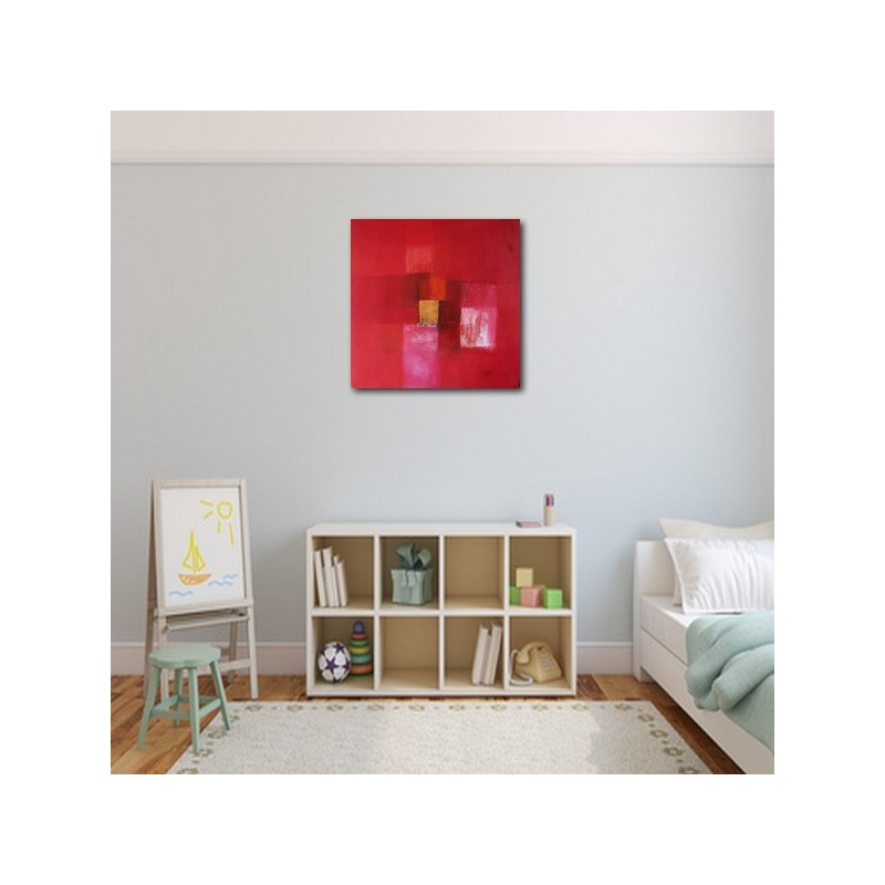 Tableau abstrait contemporain rouge 80x80 suarsa for Tableau contemporain abstrait