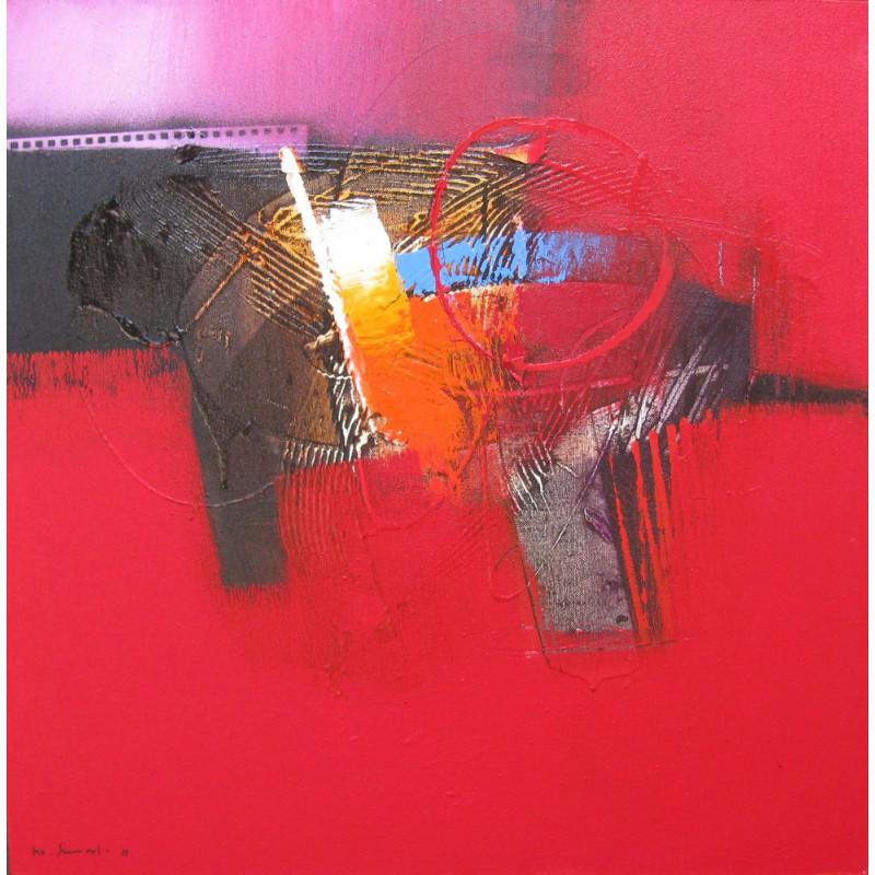 tableau abstrait style contemporain ton rouge 60x60 cm. Black Bedroom Furniture Sets. Home Design Ideas