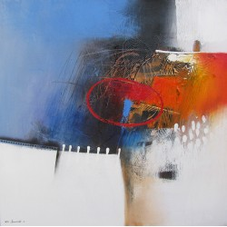 Tableau abstrait contemporain Bleu Blanc 80x80 cm - Sumadi
