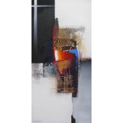 SUMADI - Tableau vertical ton blanc-noir- 100x50 cm