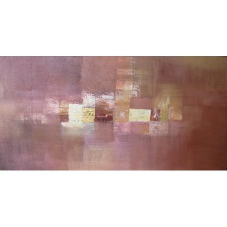 Grand tableau panoramique abstrait marron doré ocre - 200x100