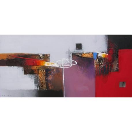 TABLEAU ABSTRAIT CONTEMPORAIN-TON BLANC-ROUGE 125x60