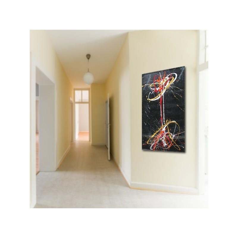Grand tableau contemporain vertical noir peinture graphique abstraite - Grand tableau contemporain ...