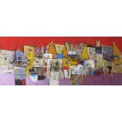 Tableau horizontal masques colorés-fond rouge-violet- 100x40 cm