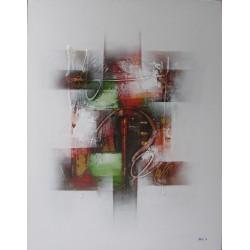 Tableau abstrait blanc-rouge-vert - 90x70 cm