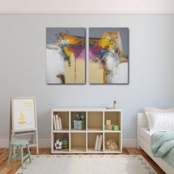 Diptyque abstrait blanc-gris-jaune 140x100 cm