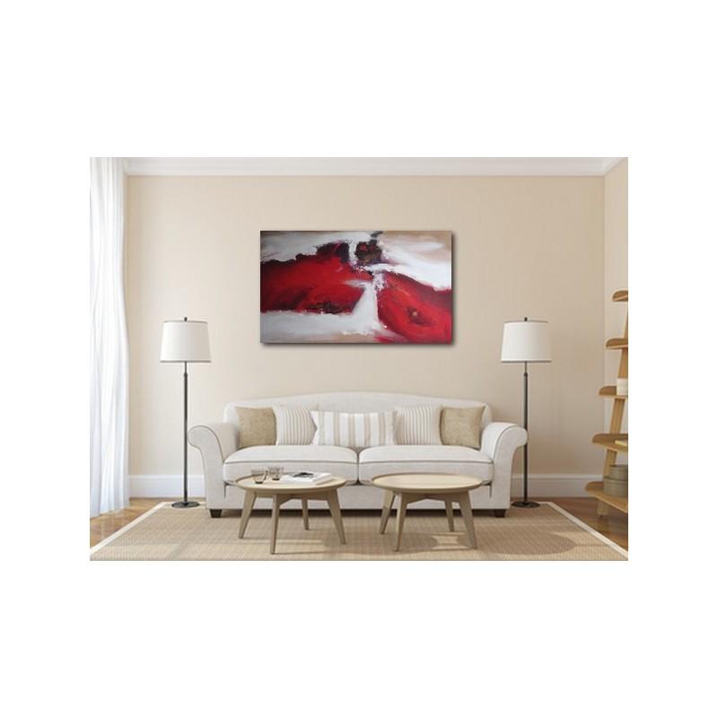 Tableau abstrait graphique rouge blanc brun deco chambre for Deco chambre actuelle